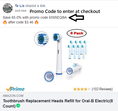 amazon promo code to enter at checkout oral B toothbrush refills