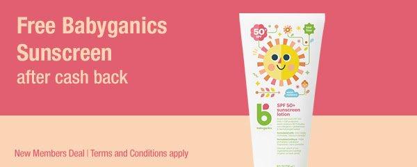 Free Babyganics sunscreen for new TopCashback members