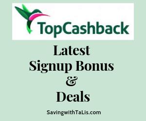topcashback latest signup bonus and deals