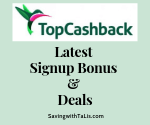topcashback latest signup bonus and deals