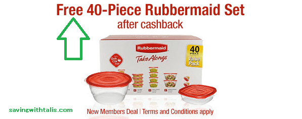 free 40 piece rubbermaid set