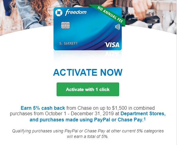 Chase Freedom Activate cashback