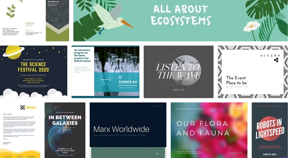 different examples of presentations and papers made with Canva.