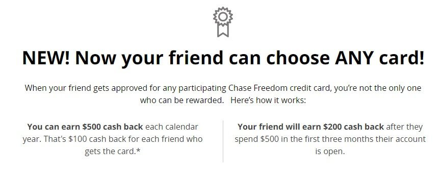 chase credit card friend referral program