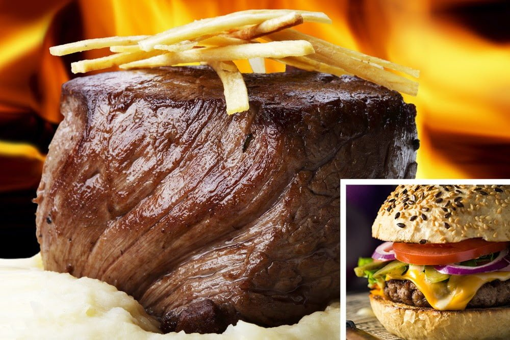 juicy filet mignon with fries over mashed potato and steak burger with sesame seed burger bun