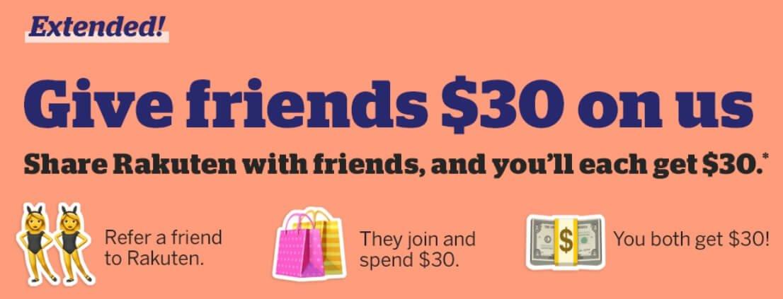 $30 cash back for new members from Rakuten