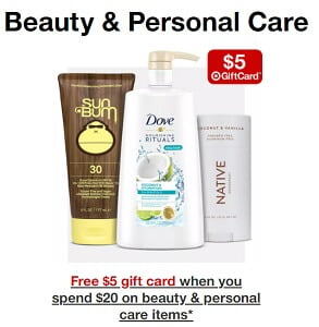 Target gift card deal when buying beauty products