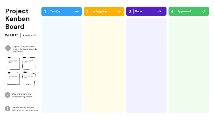 Canva template is excellent for tracking the workflow of a project