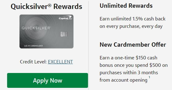 quicksilver credit card rewards apply