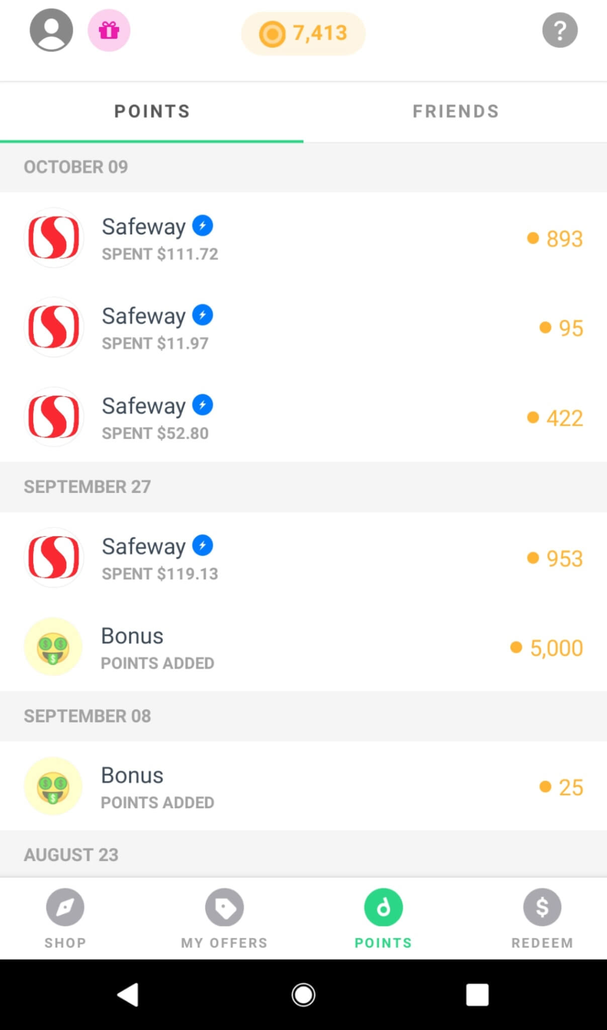 drop app selected merchants for power offers