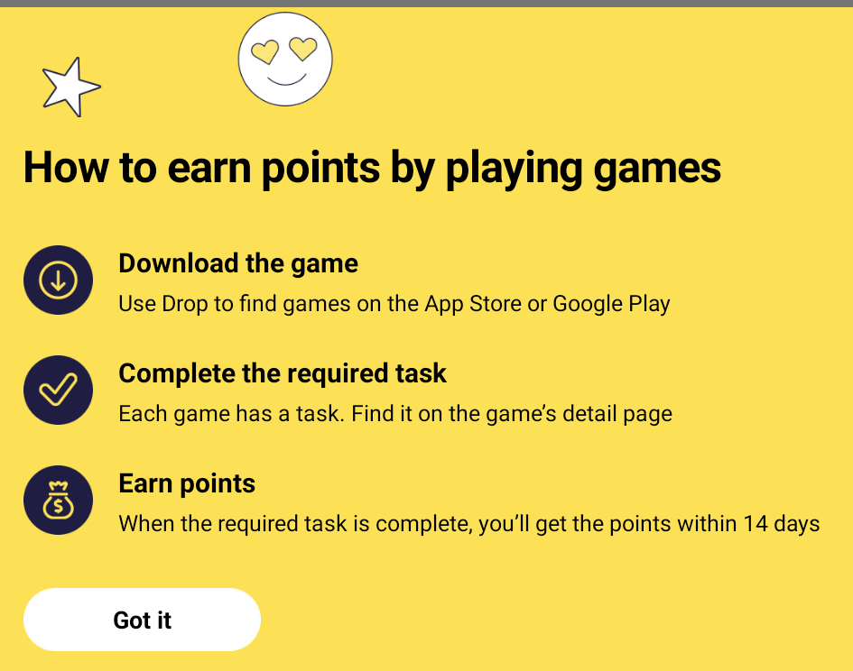 image outlines steps to earn points playing games in drop app