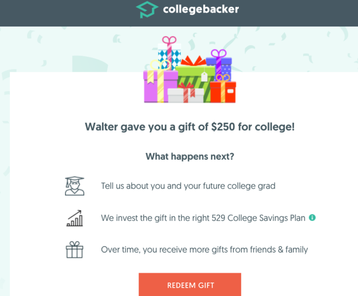 gift money for college education 529 plan redeem gift.