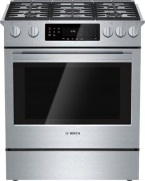 Bosch – 800 Series 4.8 Cu. Ft. Self-Cleaning Slide-In Gas Convection Range