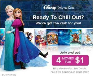 Join the Disney Movie Club and get 4 Disney Movies for $1