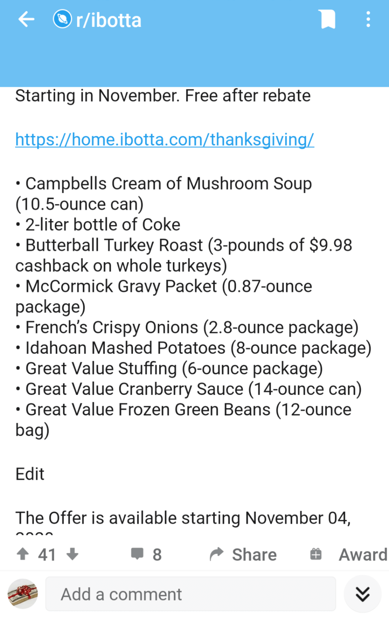 Thanksgiving groceries cash back with ibotta app