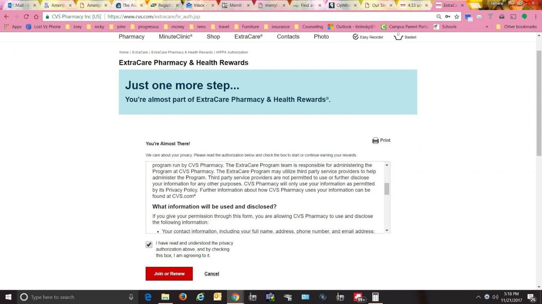 sign up ExtraCare pharmacy & health rewards program at CVS