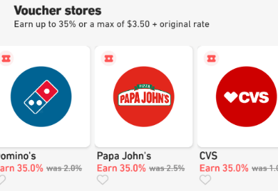 Fluz voucher stores Domino's, Papa Johns, CVS