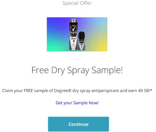 free degree spray Swagbucks offer