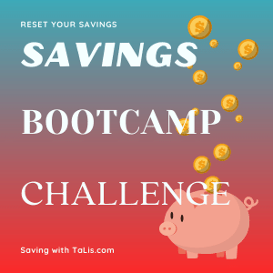 savings bootcamp challenge piggy bank with coins tossed