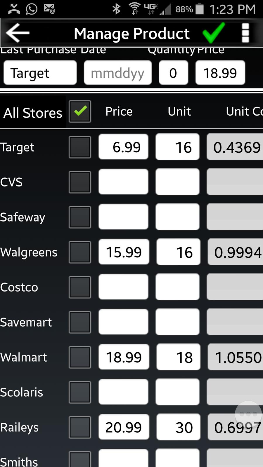 price comparison database app