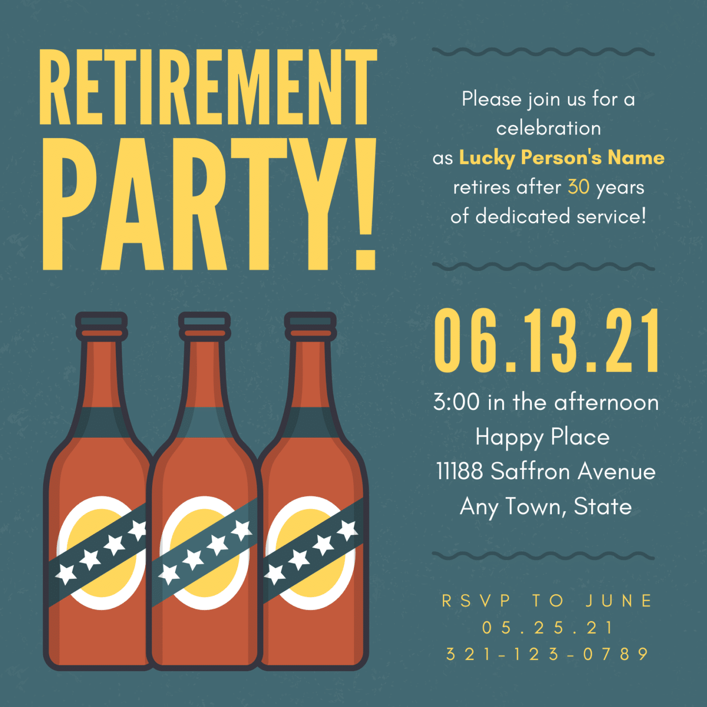 Free Canva retirement party invitation to edit