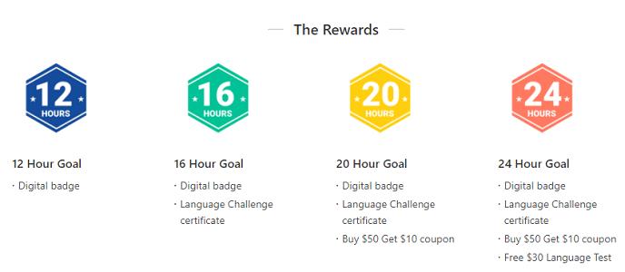 italki challenge rewards structure