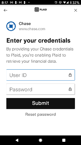 Connect bank to app by entering your bank's signing credentials